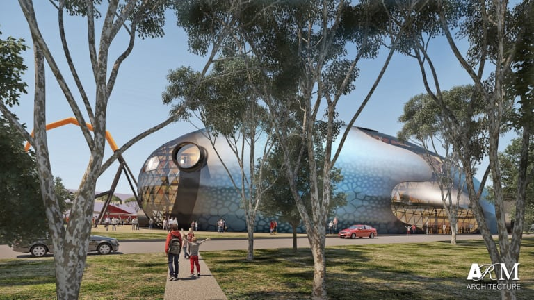 Artist's impression out the outside of the new Theatre of Things proposed in the National Museum of Australia's new master plan