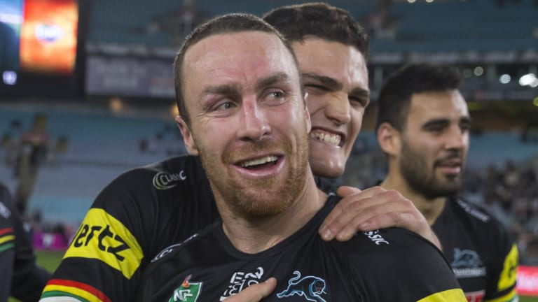 Linchpins: Nathan Cleary hugs James Maloney after full-time.