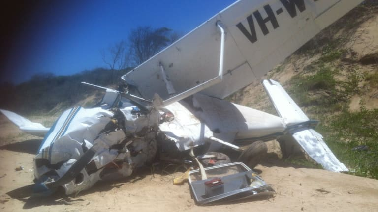 A 29-year-old British backpacker died and two of the three other passengers, including pilot Les Woodall, were seriously injured when this Cessna 172 crashed near Middle Island.