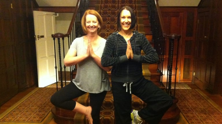 Then prime minister Julia Gillard at the Lodge with her personal trainer Tanya Gendle.