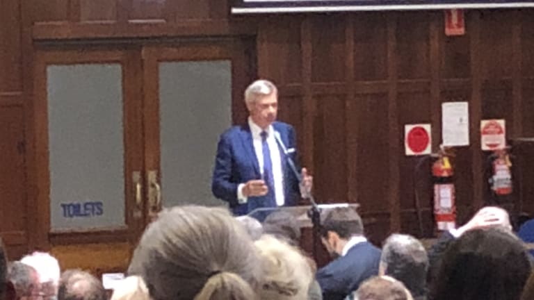 Michael Kroger addressing the state assembly meeting on Friday night, where he resigned.