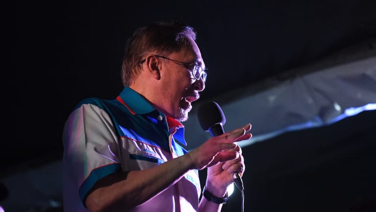 Anwar Ibrahim addresses the crowd at a rally in his first speech after being released from prison in Kuala Lumpur.