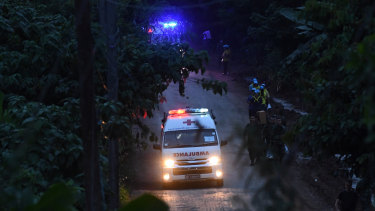 An ambulance carries the 6th person rescued from Tham Luang cave.