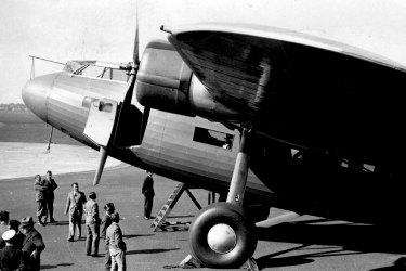 26th September 1934:  A Fokker airliner at Croydon airport capable of carrying 32 passengers, or 16 if sleeping berths are supplied. It is operated by KLM Royal Dutch Airlines and is intended to fly from Amsterdam to Batavia, 9000 miles.  (Photo by J. A. Hampton/Topical Press Agency/Getty Images) Getty image for Traveller. Single use only.