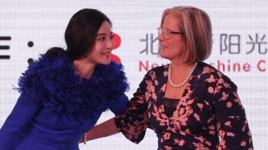 Lucy Turnbull with Chinese film star Fan Bingbing during a donation ceremony to the Heart Ali foundation in Beijing in 2016.