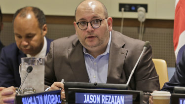 Washington Post journalist Jason Rezaian participates in a panel discussion on media freedom at the UN on Friday.