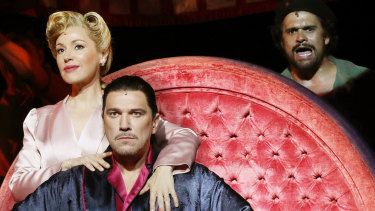 Tina Arena with Paulo Szot and Kurt Kansley as Eva and Juan Peron and Che Guevara.