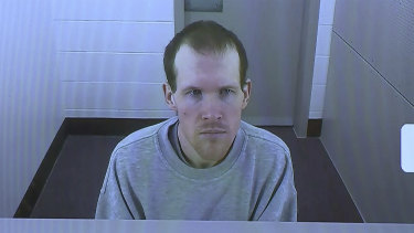 In this image made from a video, Brenton Harrison Tarrant appears in court via video link in March.