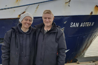 Feeonaa and Neville Clifton by the San Aotea II fishing boat in the Falkland Islands before their departure.
