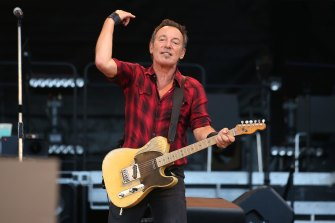 Bruce Springsteen on stage at AAMI Park, Melbourne in 2017.