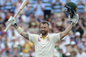 Matthew Wade celebrates his third Test century.