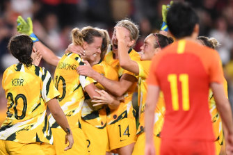 The Matildas celebrate after Emily van Egmond's equaliser against China on Thursday night.