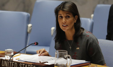 United States ambassador to the UN Nikki Haley at the United Nations.