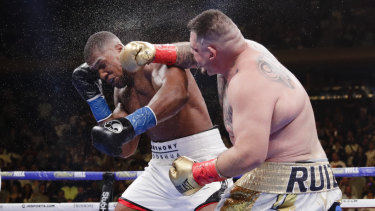 People's champion: Mexico's Andy Ruiz lands a fierce blow on Anthony Joshua at Madison Square Garden.