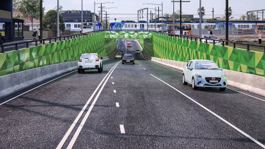 An artist's impression of the proposed level crossing.