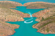 Aerial view of the Horizontal Waterfalls, Talbot Bay.   Horizontal Falls, Talbot Bay, Western Australia