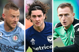 Melbourne-based A-League players Scott Jamieson, Marco Rojas and Besart Berisha.