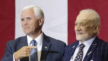 US Vice President Mike Pence with astronaut Buzz Aldrin on Saturday