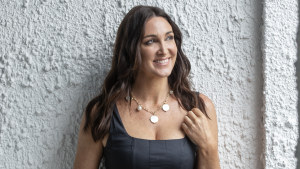 Paspaley creative director Christine Salter in the Dive charm necklace and bracelet.