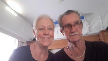 Lee and Bob Jennings in their caravan in Tamworth.