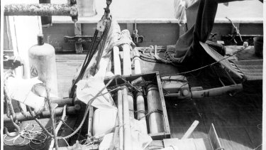 The raft the Bourdens were found on rests on the deck of the Betty Jane.