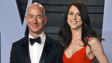 Jeff Bezos and MacKenzie Bezos at the Vanity Fair Oscars Party in 2018.