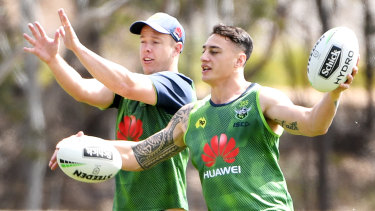 Charnze Nicoll-Klokstad, right, with Sam Williams at training.