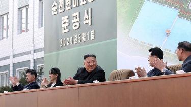 North Korean leader Kim Jong-un, centre, claps during a ceremony at a fertiliser factory in South Pyongan, near Pyongyang, North Korea.