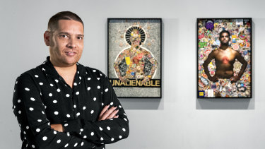 Artist Tony Albert with his works Brothers (Unalienable) and Brothers (New York Dreaming) 2015