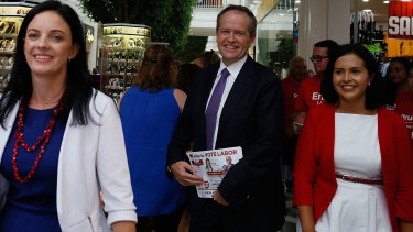 Labor leader Bill Shorten visits Penrith with Emma Husar (left) and Prue Car (right) in March 2015.