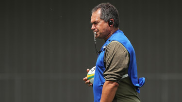 Wallabies head coach Dave Rennie oversees training on Tuesday.