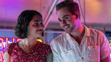 "Australians Geraldine Viswanathan and Dacre Montgomery ""meet cute"" in rom-com The Broken Hearts Gallery."