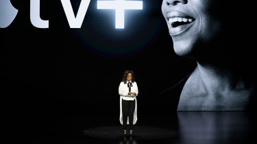 Oprah Winfrey speaking at the launch of Apple TV+ in Cupertino, California.