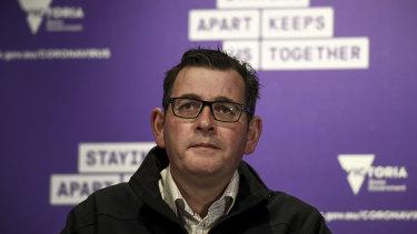 Victorian Premier Daniel Andrews gives his daily COVID-19 briefing on Saturday.