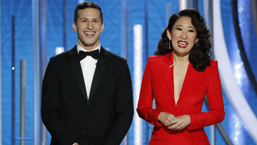 2019 Golden Globes hosts Andy Samberg and Sandra Oh.