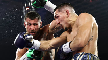 Teofimo Lopez (right) on his way to victory over Vasiliy Lomachenko in October.