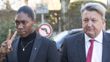Semenya and her lawyer Gregory Nott, right, arrive for the hearing at the Court of Arbitration for Sport.