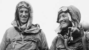 Edmund Hillary of New Zealand, left, and Tenzing Norgay of Nepal show the kit they wore when conquering the world's highest peak in 1953.