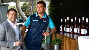 Drew Mitchell and Ryan McCauley The Ultimate Brosé Brunch at the Easts Rugby Club on Saturday.
