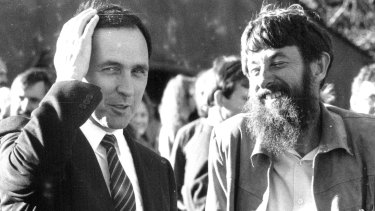 Paul Keating and Mungo at a garden party in 1987. It was Mungo's vast experience as a political journalist that most enthralled.