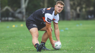 Wests Tigers hooker Jake Simpkin is one of the rookies to watch out for in 2021.