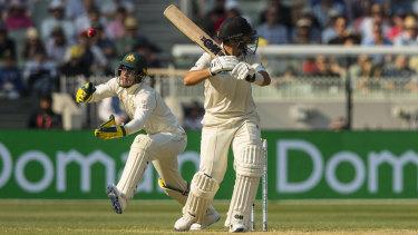 Flight risk: Australian wicketkeeper Tim Paine attempts a catch off New Zealand's Ross Taylor.