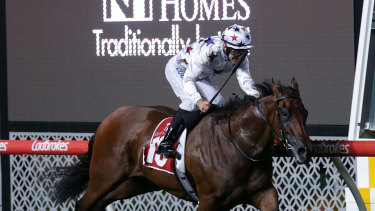 Sunlight winning the William Reid Stakes at Moonee Valley earlier in the year.
