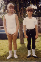David, aged 8. with sister Dianne, at home in Perth.