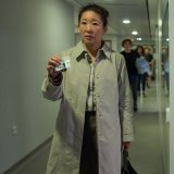 Does a fondness for raincoats make Eve Polastri a good person? Sandra Oh in season one.