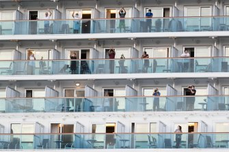 The Ruby Princess, which was the source of hundreds of Australia's coronavirus cases, departs Port Kembla with its remaining crew members on April 23.