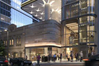 Renders of Billbergia's 88 Walker Street office tower development in North Sydney.