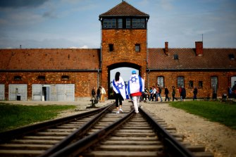 The railway tracks leading to the former Nazi death camp Auschwitz-Birkenau.