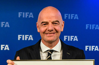 FIFA president Gianni Infantino delivering the news Australia and New Zealand would co-host the 2023 Women's World Cup. He will soon help decide how it's shown on television in Australia.
