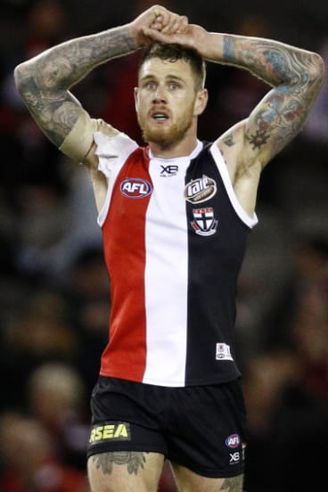 Up against it: St Kilda's Tim Membrey.